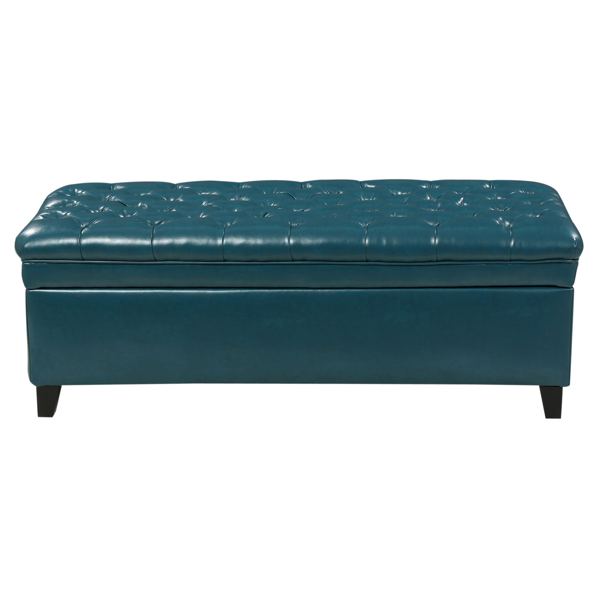 Juliana Tufted Faux Leather Storage Ottoman Dark Teal