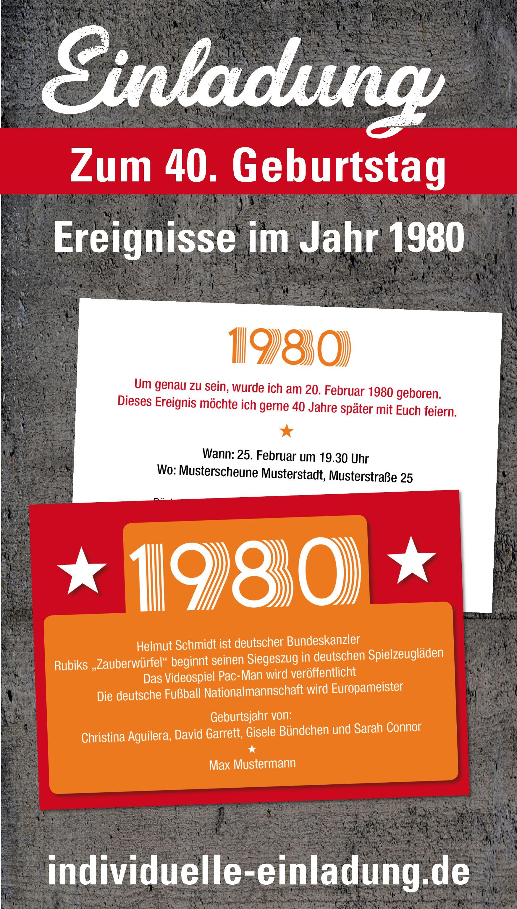 Einladung Zum 40 Geburtstag Jahrgang 1980 Ereignisse Postkarte