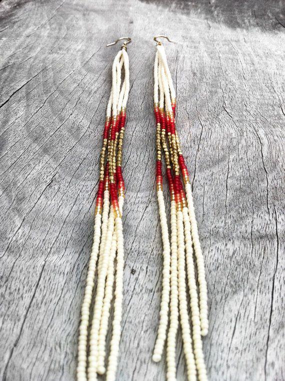 Super Long Beaded Earrings Seed Bead Fringe Earrings in by KadhiBo