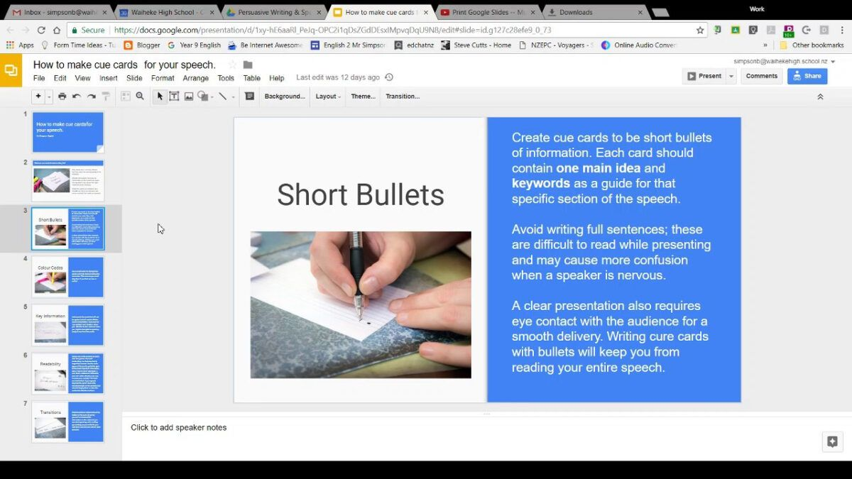 Using Google Slides To Make Cue Cards For Your Speech Intended For Google Docs Index Card Template Note Card Template Cue Cards Card Template