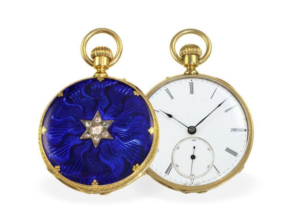 Taschenuhr/Anhängeuhr: hochfeine Gold/Emaille-Taschenuhr mit Diamantbesatz, königlicher Uhrmacher
