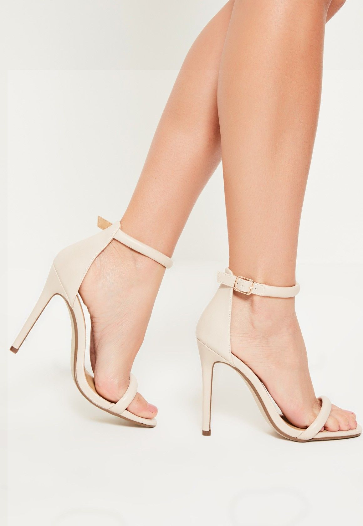 0c101d6f5d9d Missguided - Nude Faux Leather Rounded Strap Barely There Heels ...