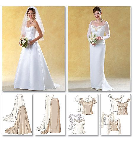 Butterick Sewing Pattern B40 Misses' Formal Tops And Skirts With Gorgeous Wedding Gown Patterns
