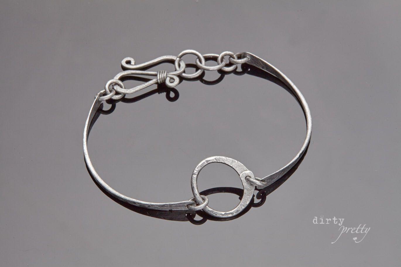 11th Anniversary Gift Tiny Zen Circle Steel Bracelet Dirtypretty Artwear