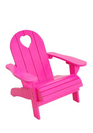 J I P Wooden Beach Chair With Heart Detail Pink Furniture Kids