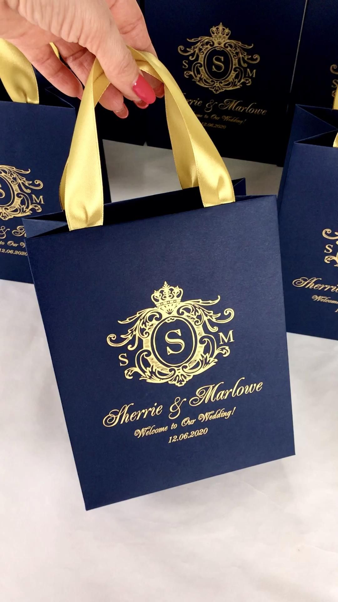 30 Navy Blue and Gold Wedding Monogram gift bags w