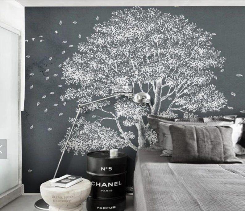 3d Modern Grey Tones Simple Tree Wallpaper Removable Self Etsy Wall Murals Tree Wallpaper Mural Wallpaper