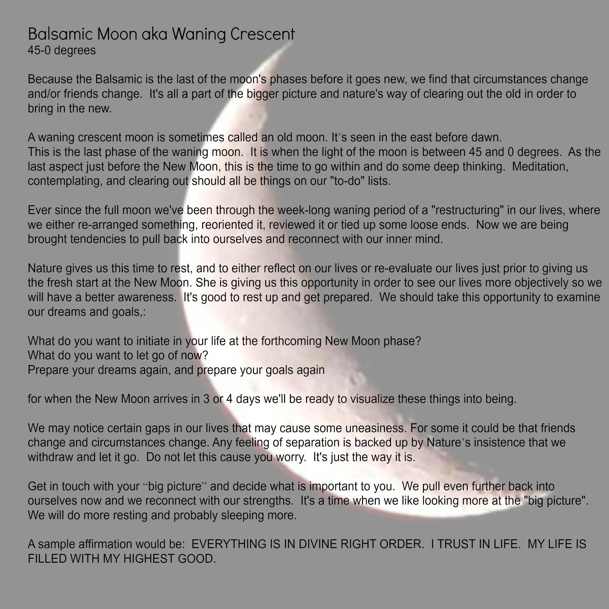 Balsamic Moon aka Waning Crescent | Moon | Cresent moon, Moon, Moon