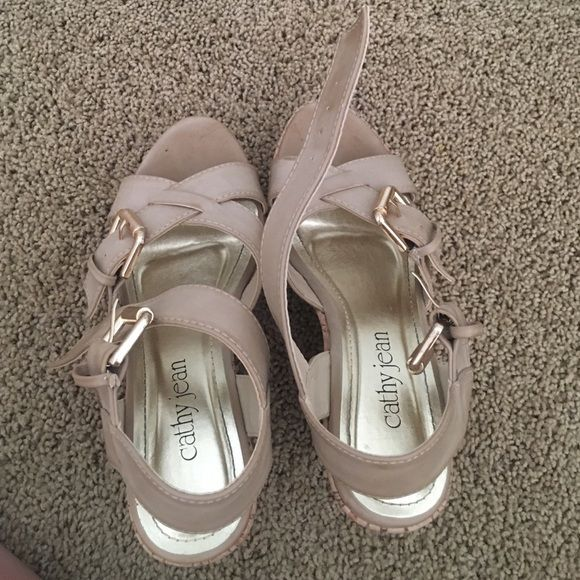 Beige (nude) Cathy Jean Wedges -new, will clean if necessary with shoes cleaner, worn twice for events have been in closet Cathy Jean Shoes Wedges