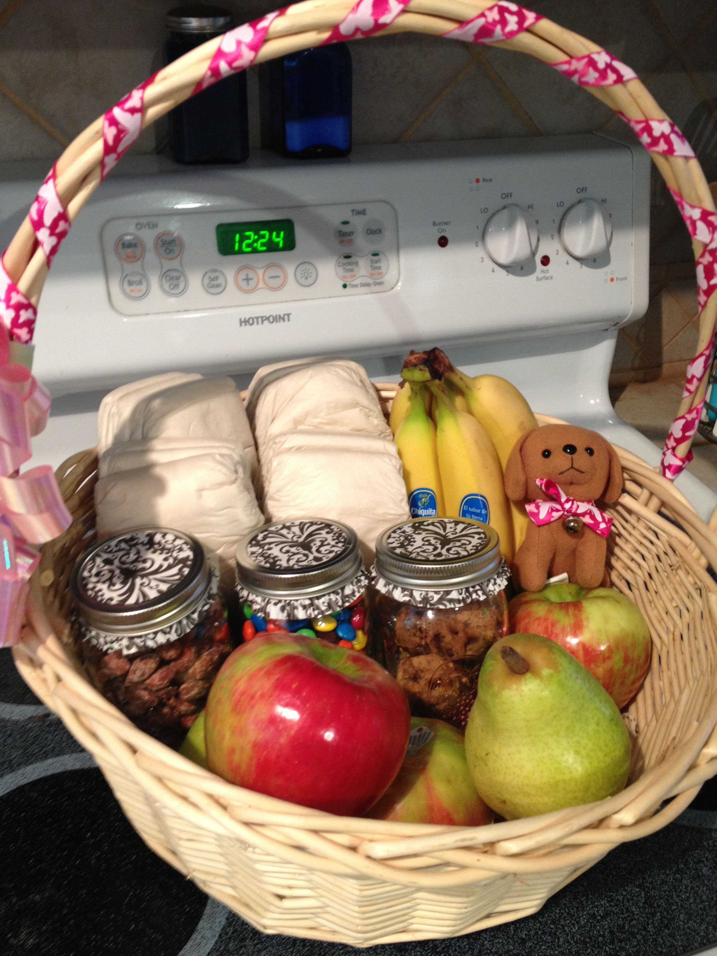 Gift basket for the new mom and dad fruit nuts