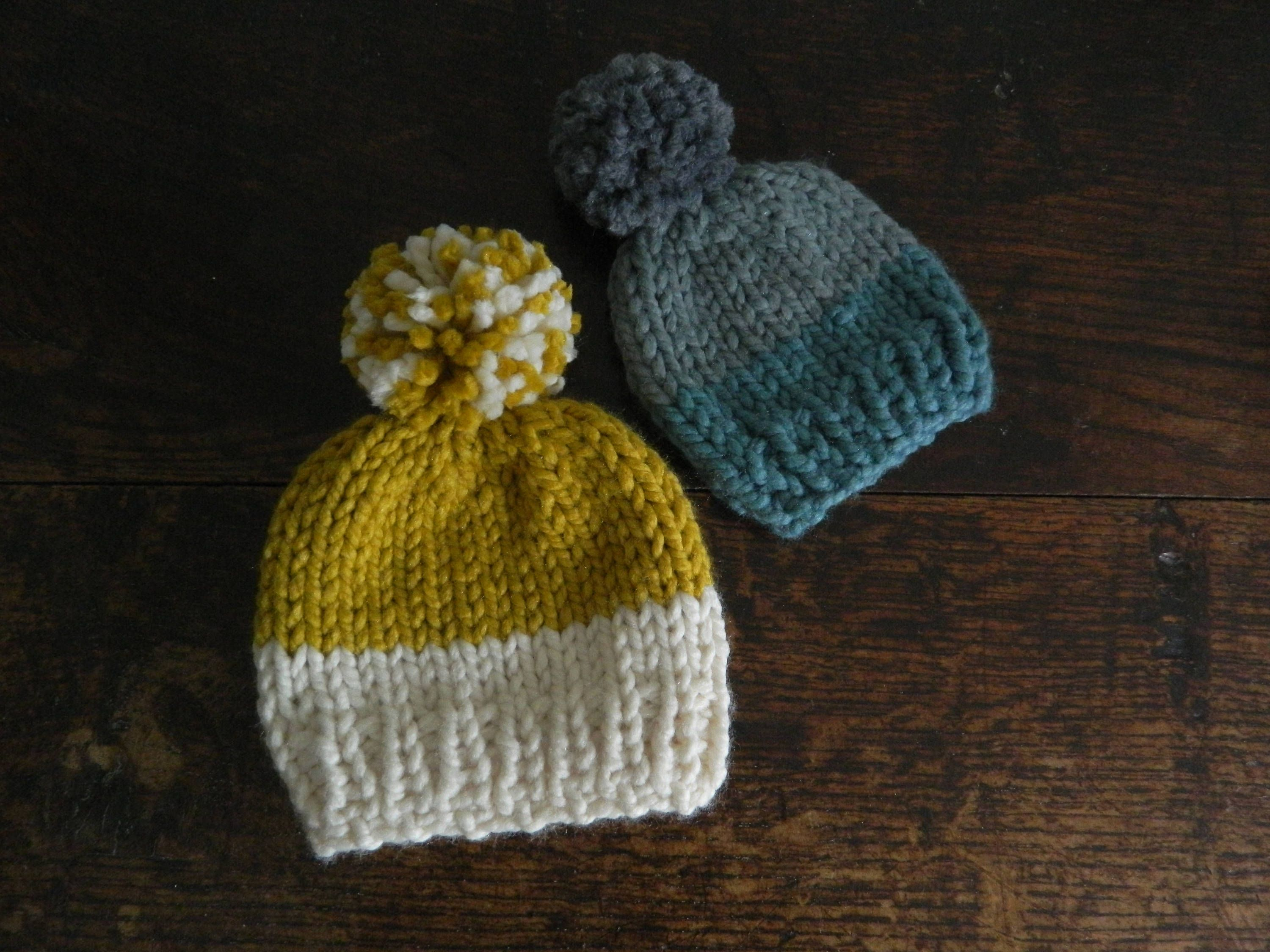 Hand Knitted kids   Baby Beanies with Pompoms - Hand Made Kids Hats -  Childrens Pompom Hats - Childrens Wool Hats by SarahJaneSeamstress on Etsy 35f70fce0cf