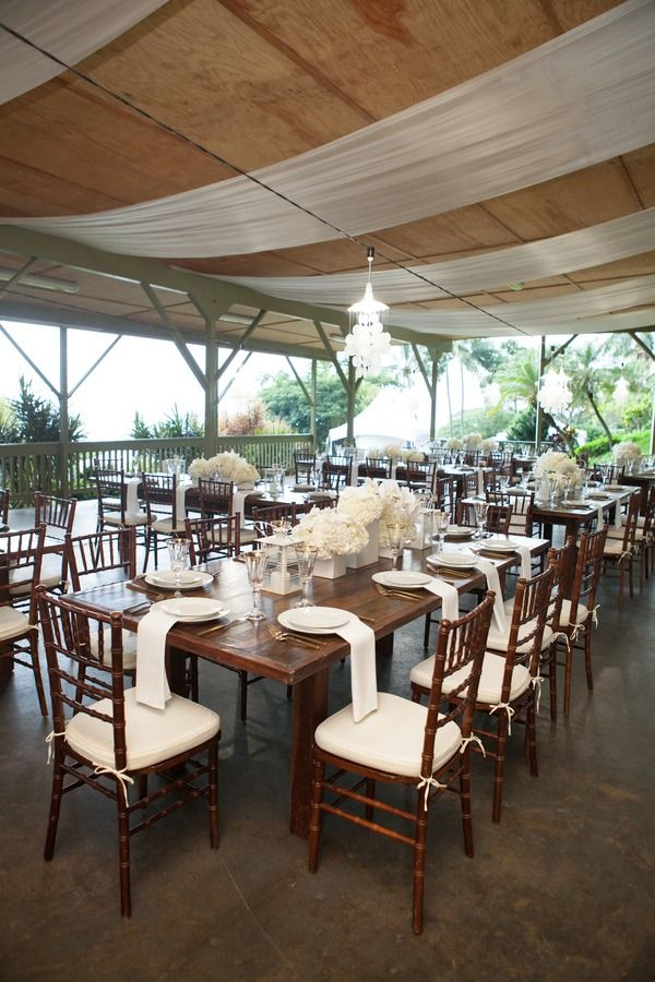 simple wedding reception decor wooden tables with white napkins white floral centerpieces rachel robertson photography