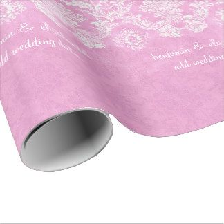 Pastel Pink Vintage Damask Pattern Grungy Finish Gift Wrapping Paper