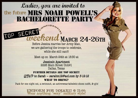 Army Wedding Invitations: Vintage Army Pin Up Girl Invitation- Bachelorette Party