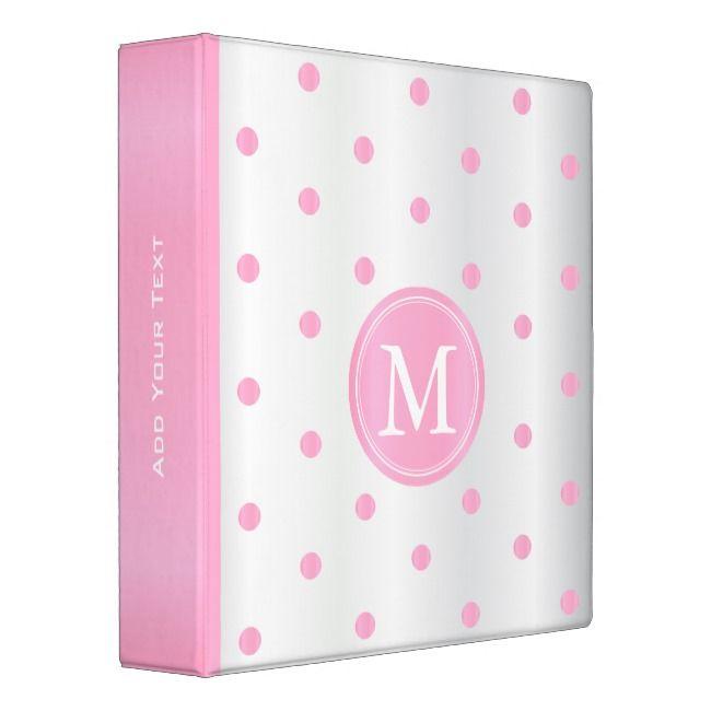 Pink And White Polka Dots Binder