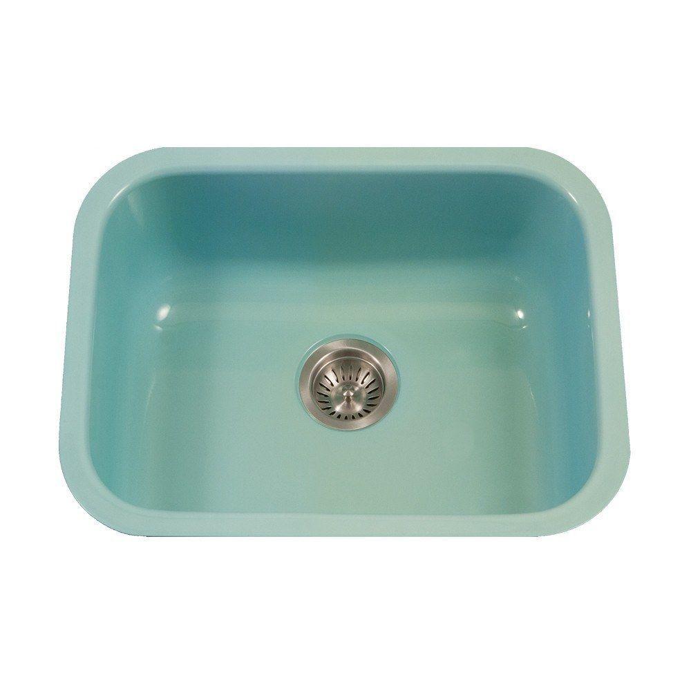 Houzer Pcs 2500 Porcela Series Porcelain Enamel Steel Undermount Single Bowl Kitchen Sink With Images Single Bowl Kitchen Sink Single Sink Kitchen Enameled Steel