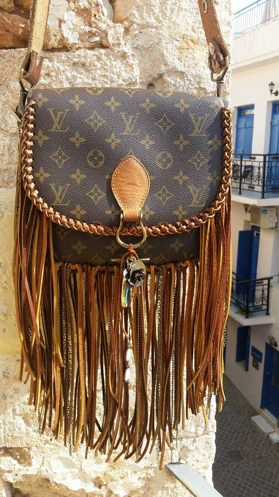 The World Travler (Large) Louis Vuitton, fringe, upcycle, gift for ... a54e443fba3