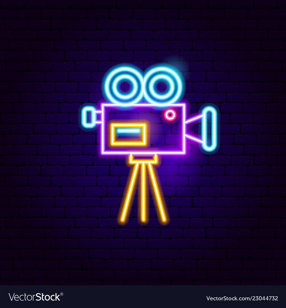 Movie camera neon sign vector image on Ideias instagram
