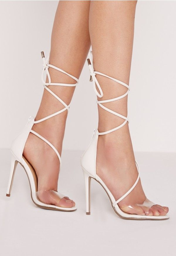 These babin' barely there heels are our new season must haves. Featuring a perspex toe strap and faux leather straps, we're loving these. Style with a ribbed midi for afterparty perfection.