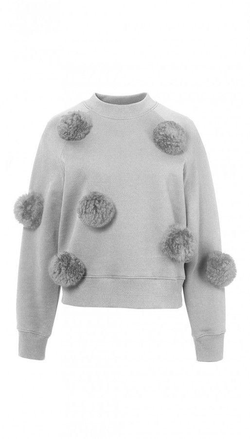 295 Tibi Cropped Pom Pom Sweatshirt Everystore Sweaters