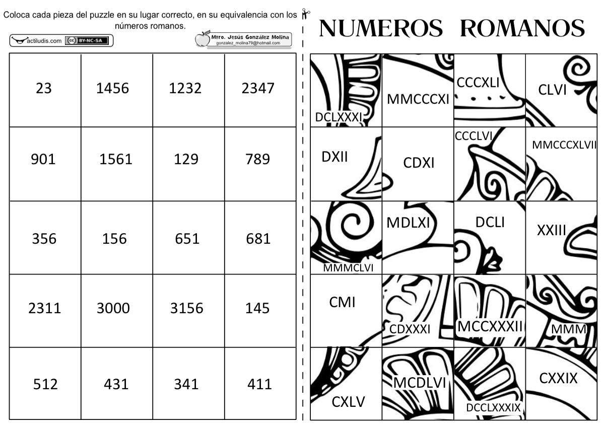 Puzzle De Numeros Romanos Actividades Y Fichas Para Matemáticas