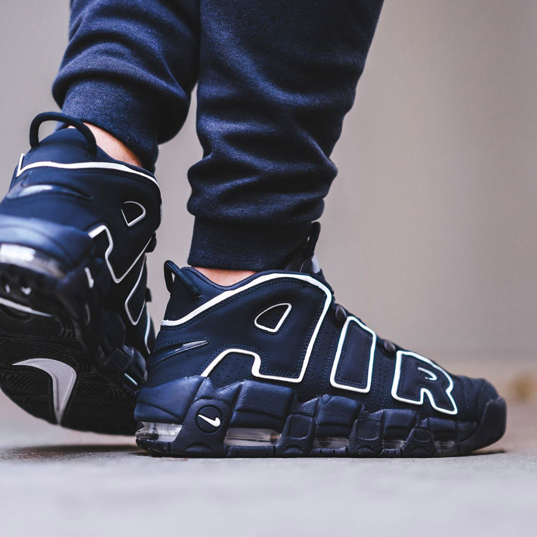 newest d2268 ece5b Nike Air More Uptempo 96 Obsidian  White Credit  BSTN