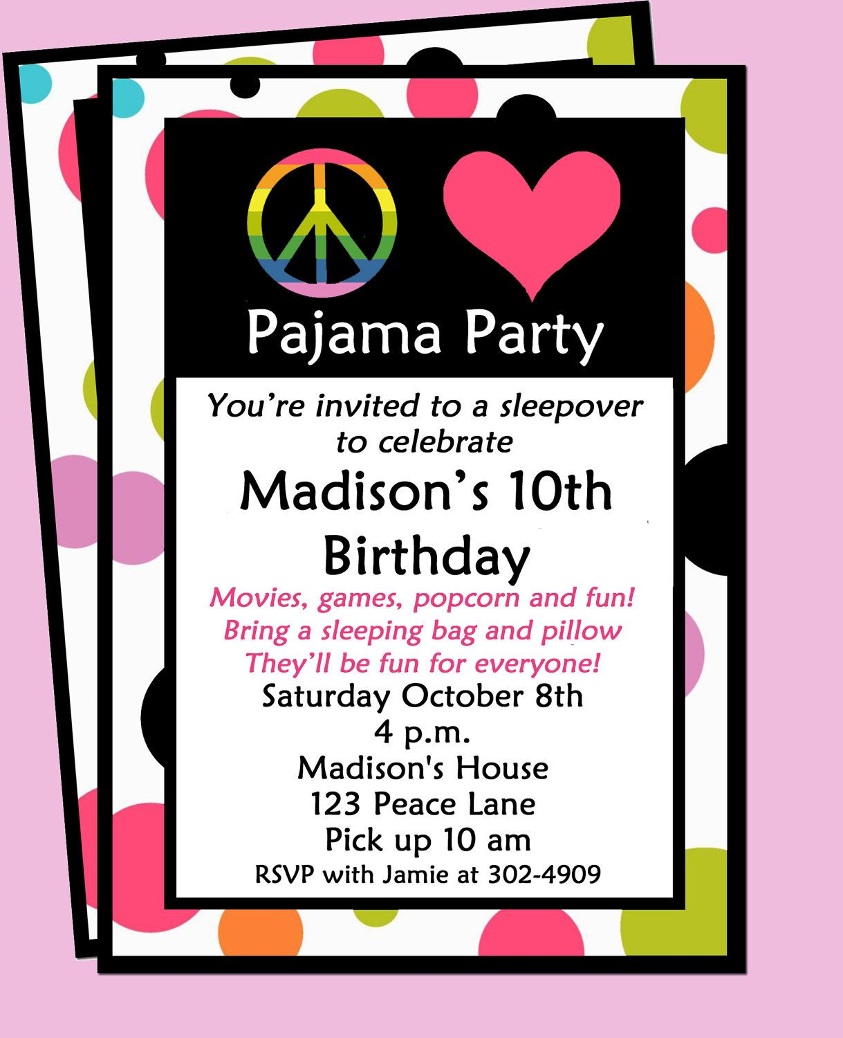Sleepover invitation printable peace love and pajamas party invitations stopboris Image collections