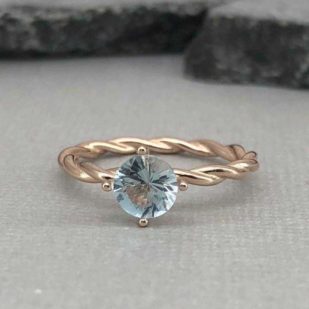 Round 1.00Ct Aquamarine Rose Gold Sterling Silver Braided