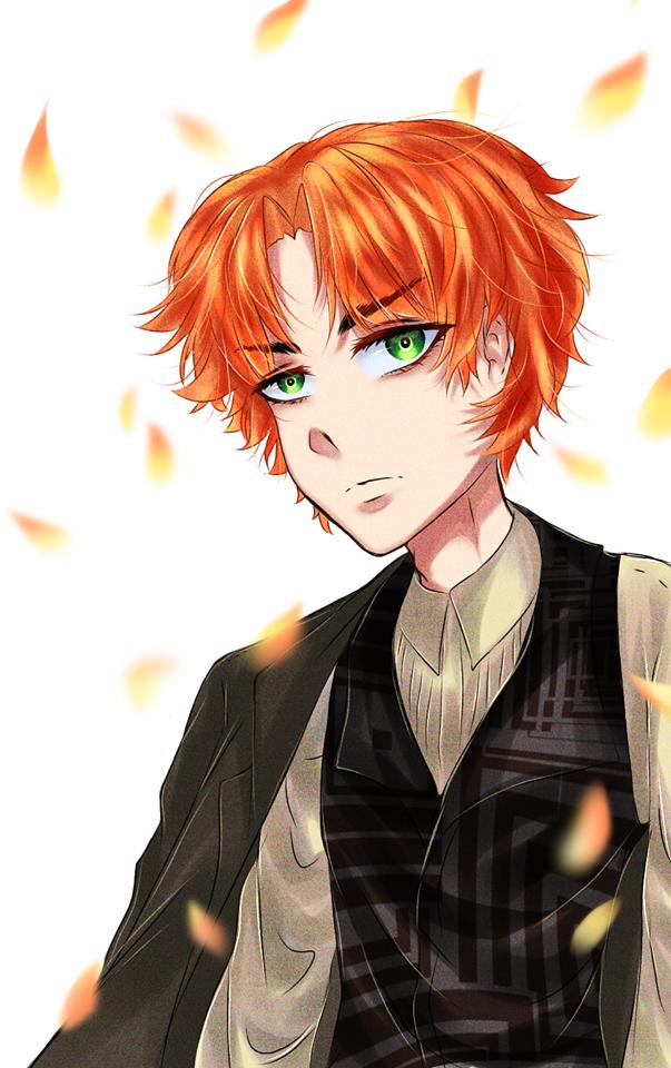 Orange Haired Anime Guy In 2020 Anime Guys Black Hair Green Eyes Anime