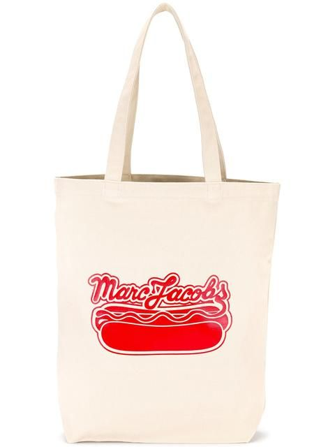 Marc Jacobs Logo Hot Dog Print Tote Marcjacobs Bags Hand Cotton