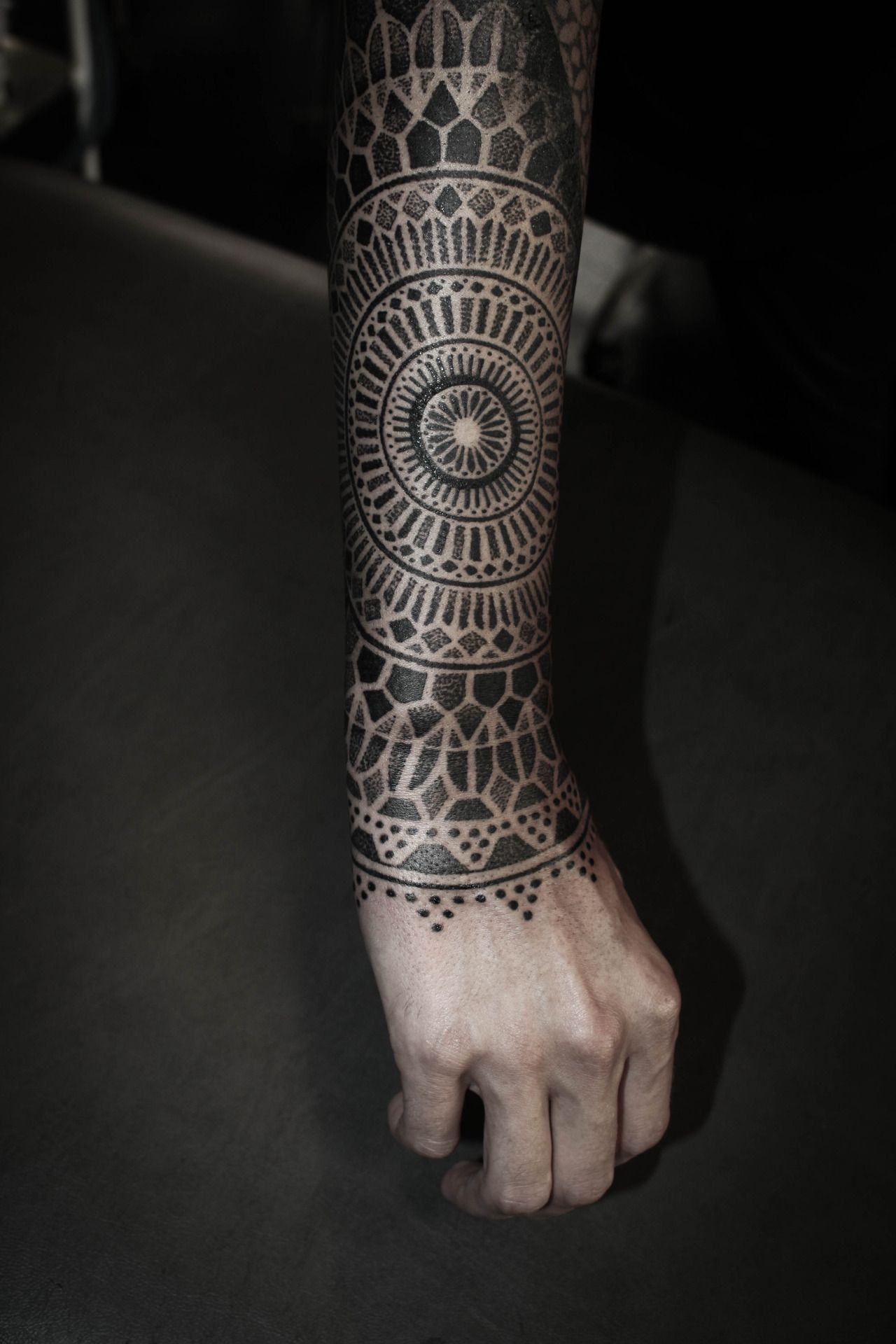 inked arm mandala tattoo blackwork tattoo by alexis calvie from black heart tattoo my almost. Black Bedroom Furniture Sets. Home Design Ideas