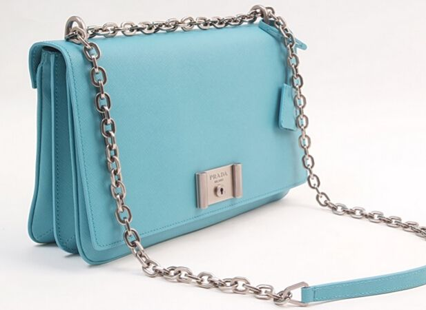33eedf2290 2016 SS Prada Saffiano leather shoulder bag with chain lake blue ...