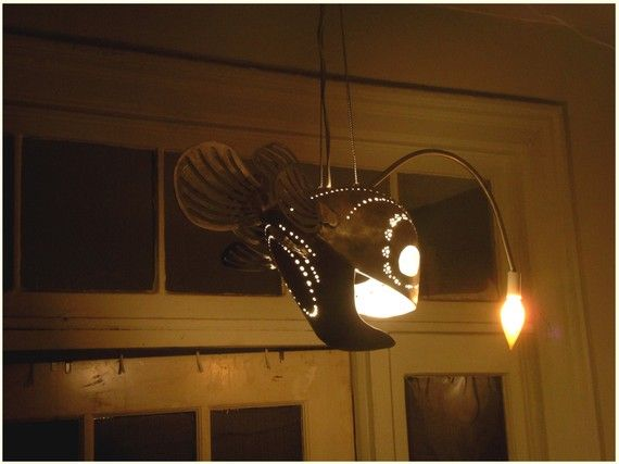 This Anglerfish Lamp Pendant Is So Amazing That I D Make A Nautical Themed Room Just So I Could Use It Fish Lamp Hanging Lights Light