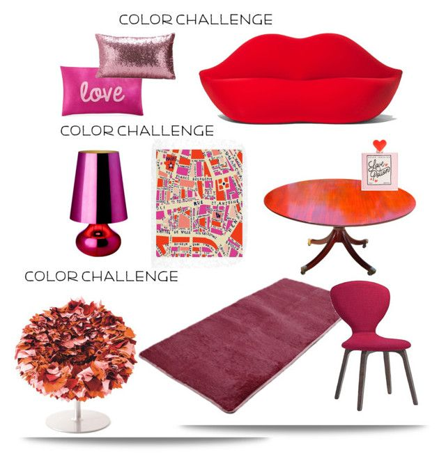 """""""Color Challenge: Red and Pink'"""" by dianefantasy ❤ liked on Polyvore featuring interior, interiors, interior design, home, home decor, interior decorating, Gufram, DENY Designs, Kartell and INC International Concepts"""