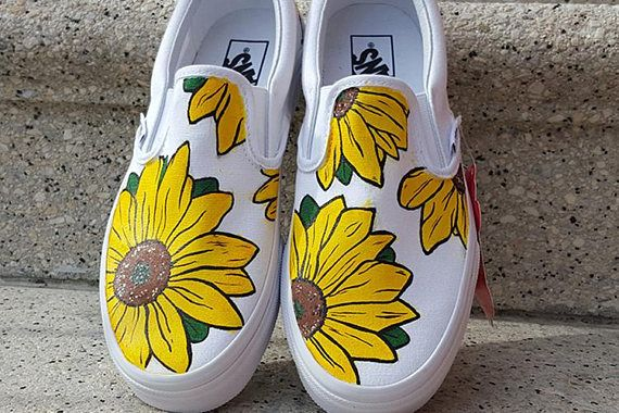 278675776d8 Custom Sunflower Vans Shoes Personalized Hand Painted in 2019