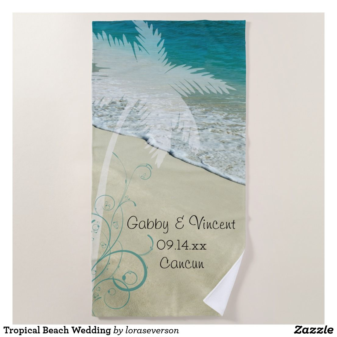 Tropical Beach Wedding Beach Towel Personalize the pretty Tropical ...