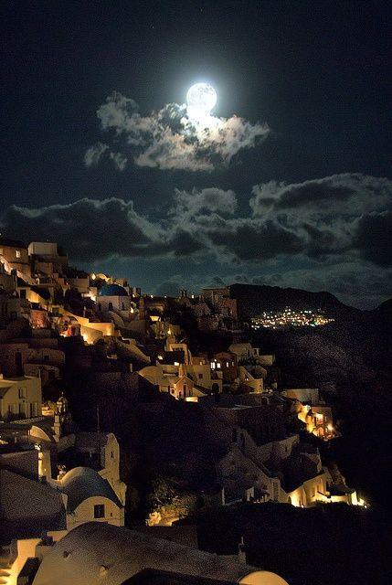 Oia Under the Moonlight, Santorini, Greece