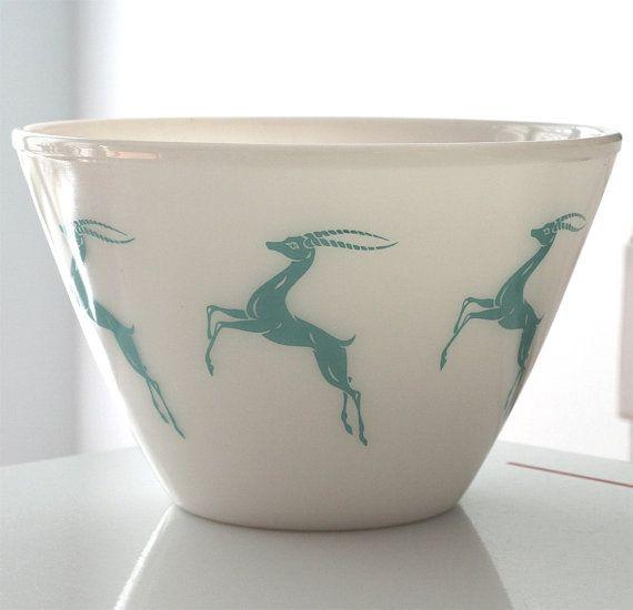 Fire King Milk Glass Gazelle Splash Proof Bowl by jaditekate, $80.00
