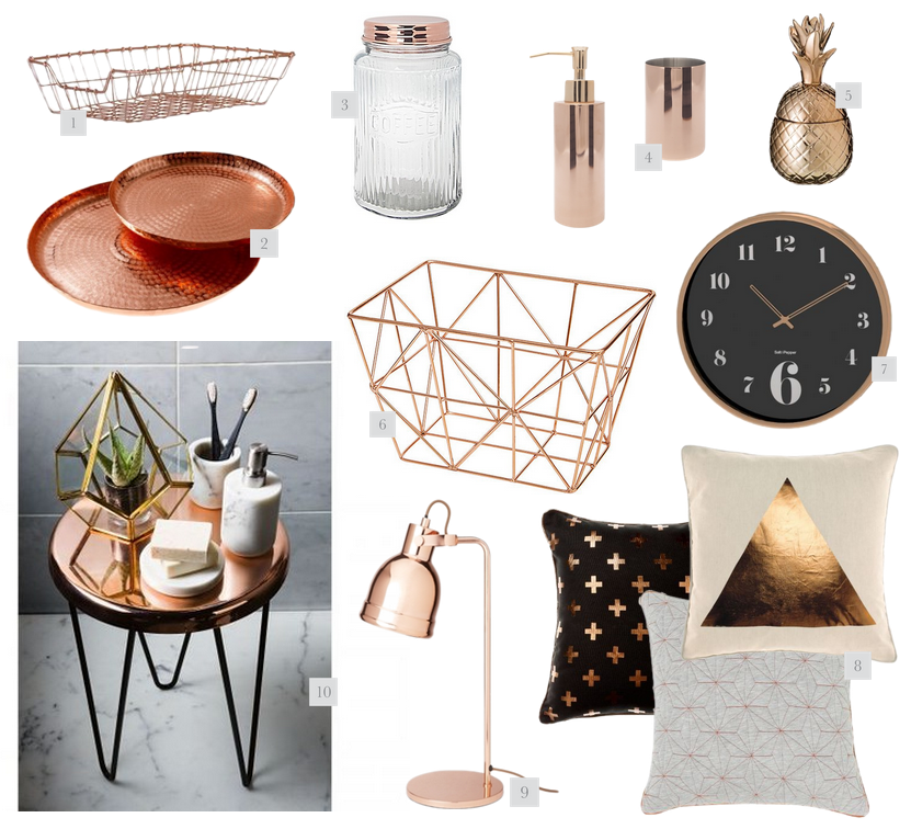 rose gold home decor - Copper Home Decor