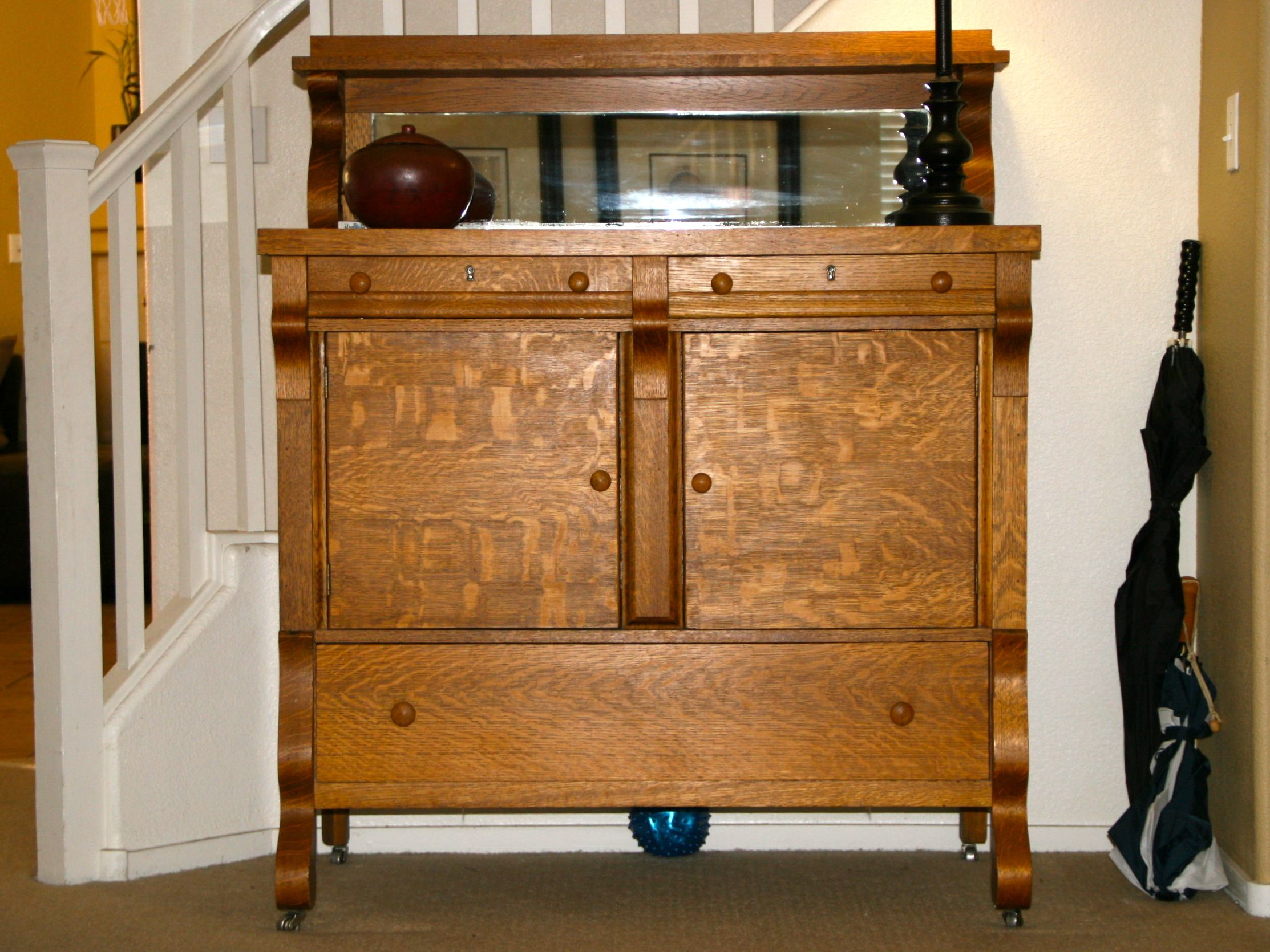 1940 S Antique Tiger Oak Empire Sideboard Buffet Server
