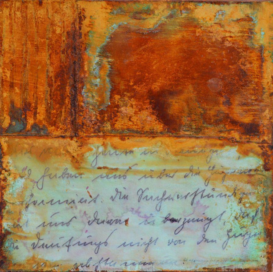 Patina Holz rost auf holz 2 20x20 holzkörper purist papier rost patina