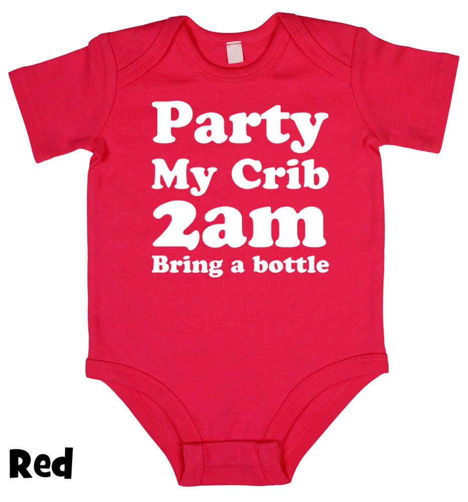 Party @ My Crib 2am BABY GROW clothing vest body suit baby shower gift 4 sizes