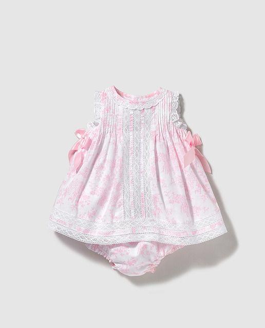 Vestido de bebé niña Dulces estampado con puntilla  a43e73074f7