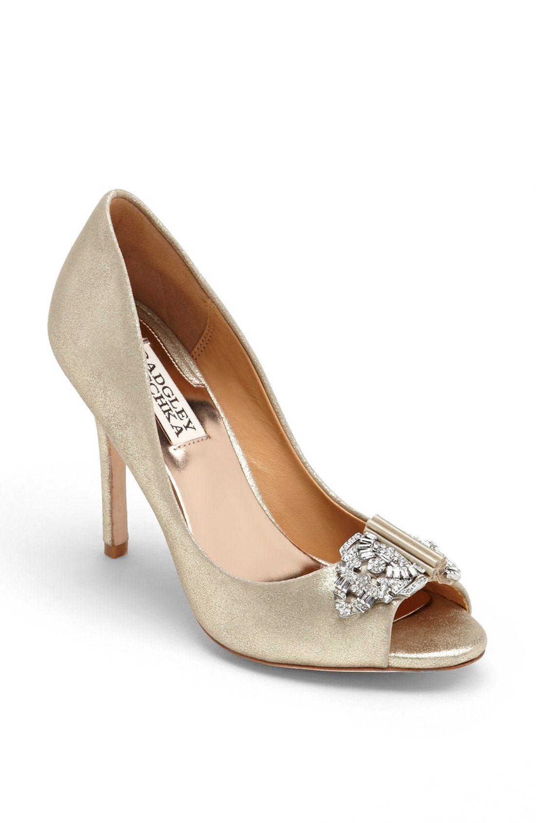 Soft gold bridal shoes from Badgley Mischka Badgley Mischka shoes