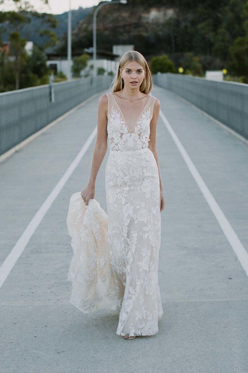 Mermaid lace wedding dress  Vneck mermaid lace wedding gown  Mermaid Dresses  Pinterest
