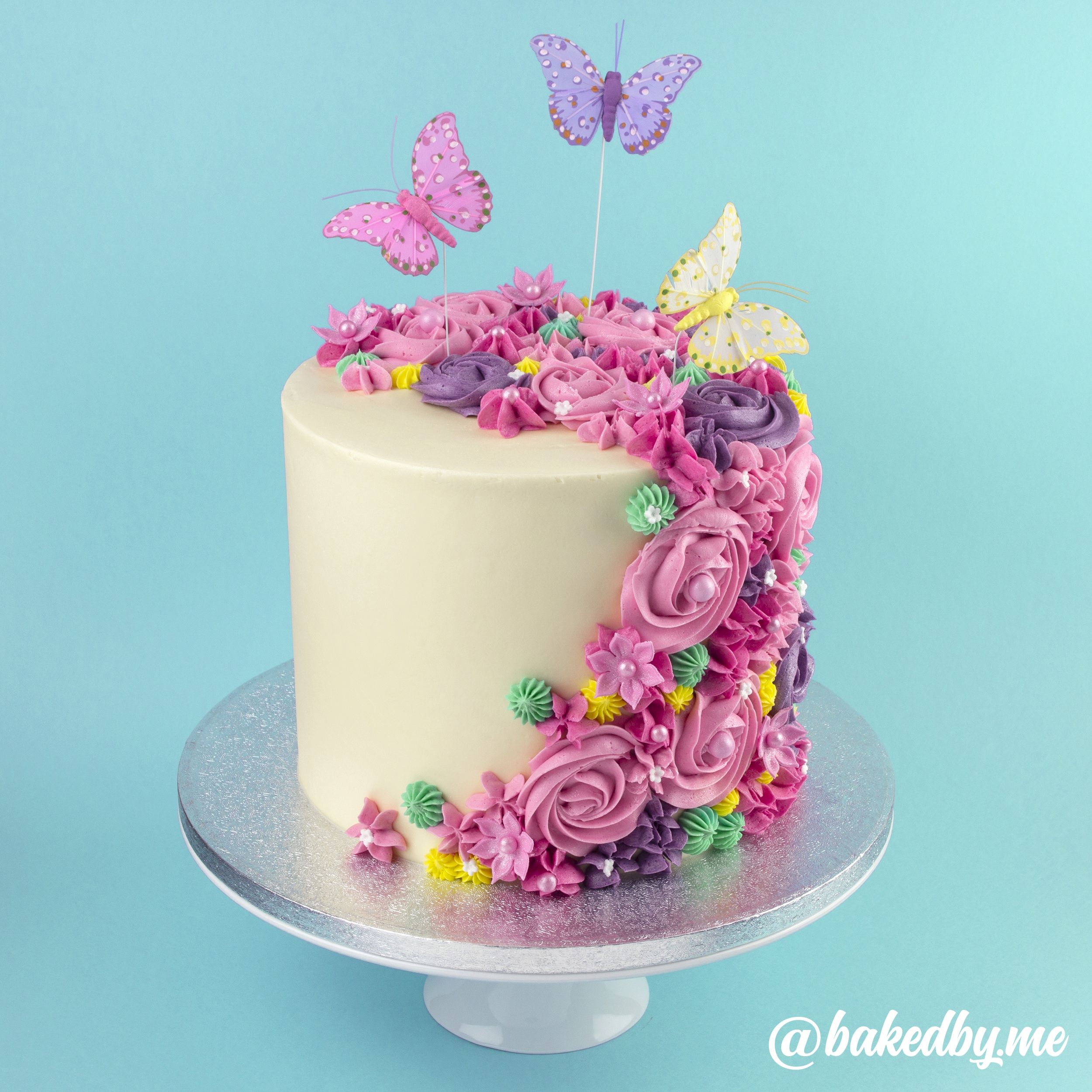 Miraculous Buttercream Butterfly Garden Cake 4 Layers Of Vanilla Sponge Funny Birthday Cards Online Alyptdamsfinfo
