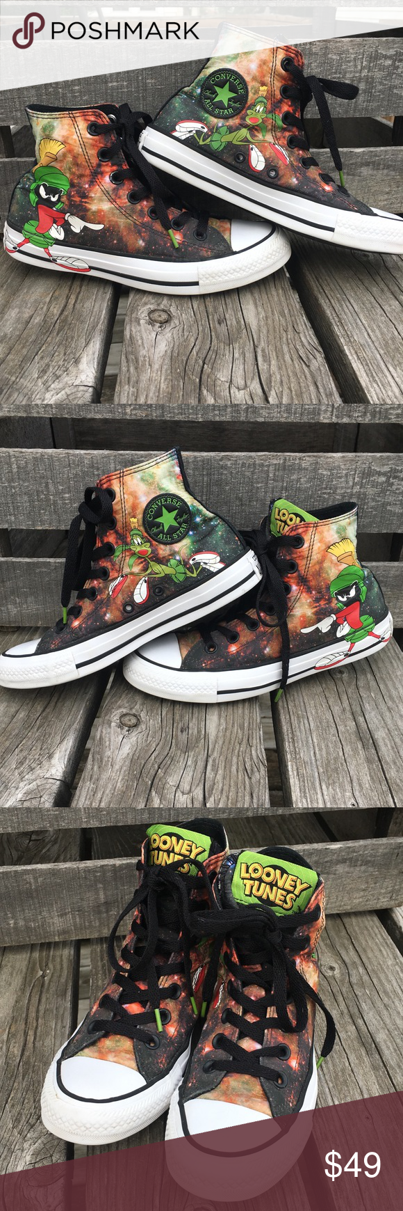 9dd65146ec46c2 🆕List! Looney Tunes Galaxy Converse! EUC! Marvin the Martian galaxy print  high top Converse! Women s size 6 size 4 men s kids. Great overall  condition!