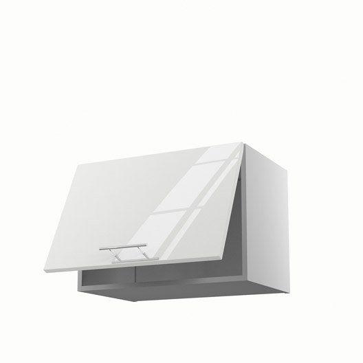 Meuble de cuisine haut sur hotte blanc 1 porte Rio, H42xL60xP35 cm