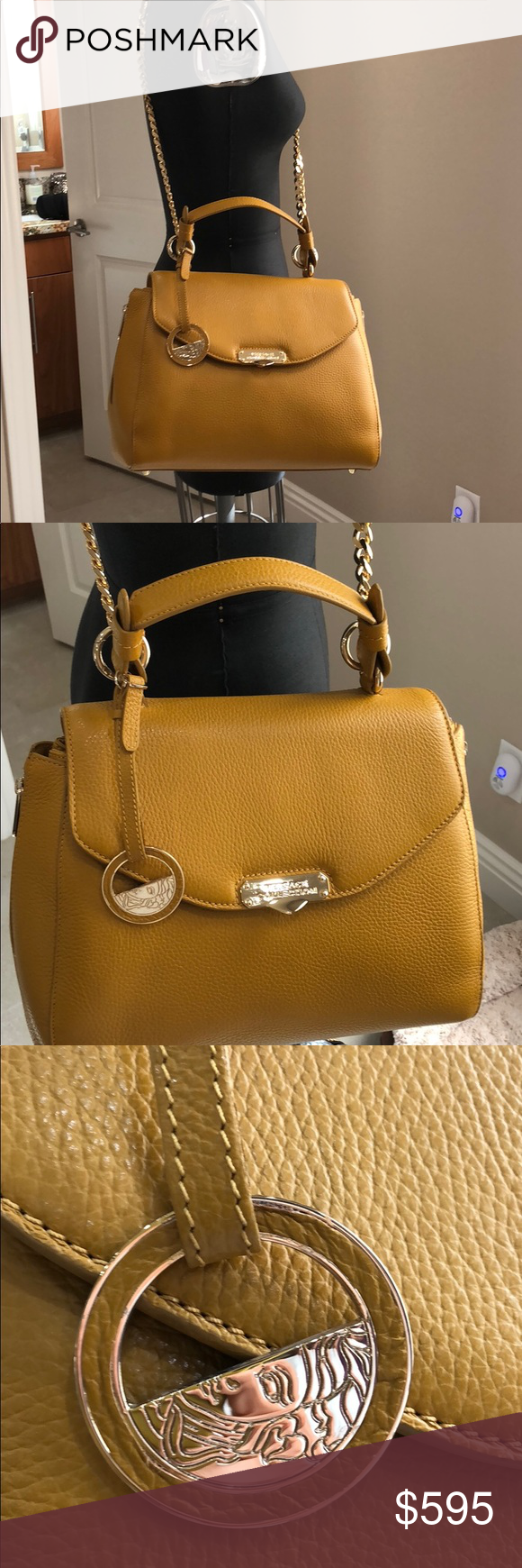 61f429b94d Versace collection mustard leather purse Brand new Versace Collection  Versace Bags Satchels