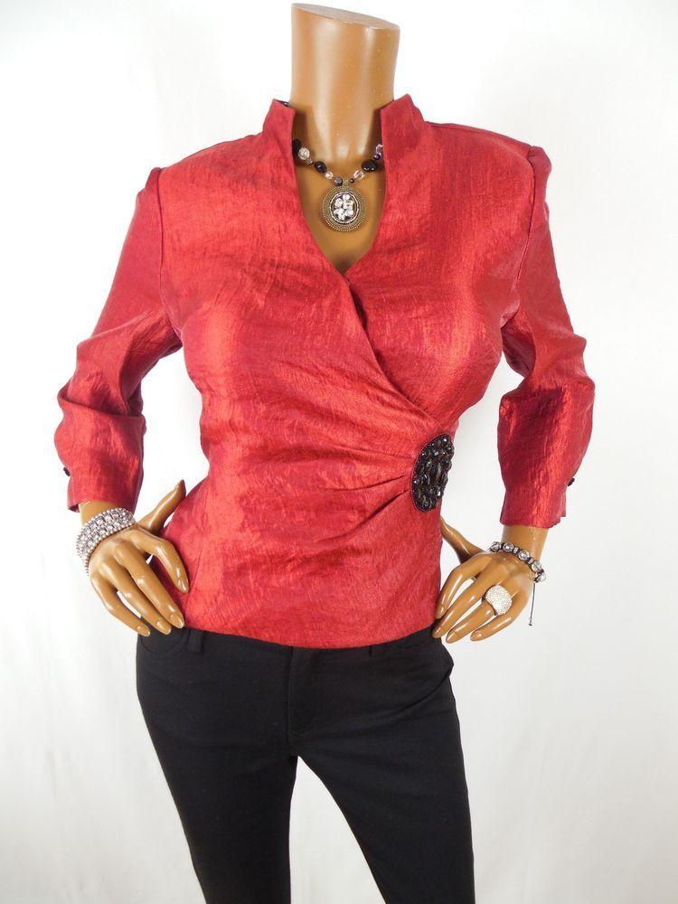 Dressbarn Womens Top M Dressy Blouse Red Metallic Shirt Black